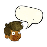 Cartoon staring boy with speech bubble Royalty Free Stock Images