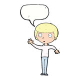 Cartoon staring boy with speech bubble Stock Photos