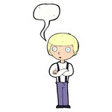 Cartoon staring boy with speech bubble Royalty Free Stock Photography