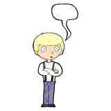 Cartoon staring boy with speech bubble Stock Photography