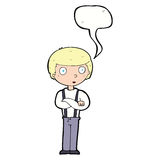 Cartoon staring boy with speech bubble Royalty Free Stock Photos