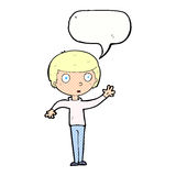 Cartoon staring boy with speech bubble Stock Image