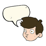 Cartoon staring boy with speech bubble Stock Images