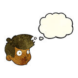 Cartoon staring boy with thought bubble Royalty Free Stock Image