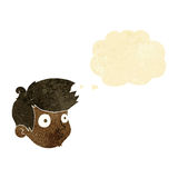 Cartoon staring boy with thought bubble Stock Images