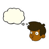 Cartoon staring boy with thought bubble Stock Photography