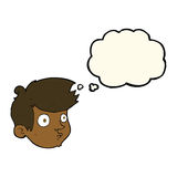Cartoon staring boy with thought bubble Royalty Free Stock Photography