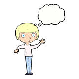 Cartoon staring boy with thought bubble Royalty Free Stock Images