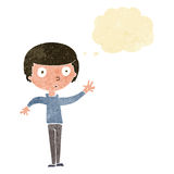 Cartoon staring boy with thought bubble Stock Photos