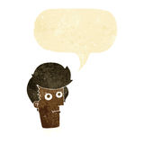 Cartoon staring face with speech bubble Royalty Free Stock Images