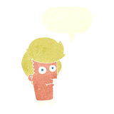 Cartoon staring face with speech bubble Royalty Free Stock Photography