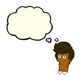 Cartoon staring face with thought bubble Stock Photo
