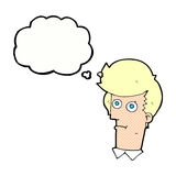 Cartoon staring face with thought bubble Stock Images