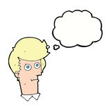 Cartoon staring face with thought bubble Stock Photography