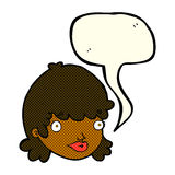 Cartoon staring girl with speech bubble Stock Images
