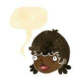 Cartoon staring girl with speech bubble Stock Photos
