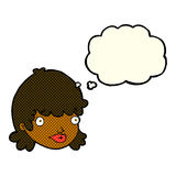 Cartoon staring girl with thought bubble Stock Images