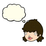 Cartoon staring girl with thought bubble Royalty Free Stock Image