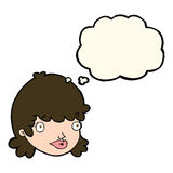 Cartoon staring girl with thought bubble Royalty Free Stock Photos