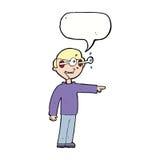 Cartoon staring man with speech bubble Stock Image