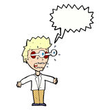 Cartoon staring man with speech bubble Stock Photo
