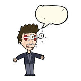 Cartoon staring man with speech bubble Royalty Free Stock Image