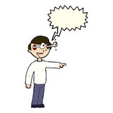 Cartoon staring man with speech bubble Stock Image