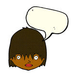 Cartoon staring woman with speech bubble Stock Images