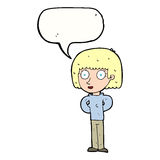 Cartoon staring woman with speech bubble Royalty Free Stock Photography