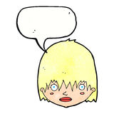Cartoon staring woman with speech bubble Royalty Free Stock Photos