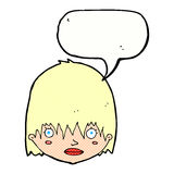 Cartoon staring woman with speech bubble Royalty Free Stock Images