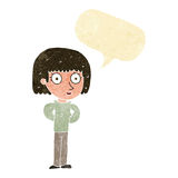 Cartoon staring woman with speech bubble Stock Photos