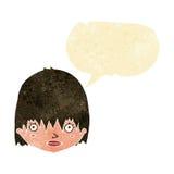 Cartoon staring woman with speech bubble Stock Photo