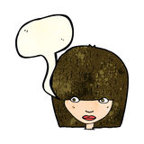 Cartoon staring woman with speech bubble Stock Photography