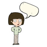 Cartoon staring woman with speech bubble Royalty Free Stock Image