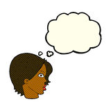 Cartoon staring woman with thought bubble Stock Photo