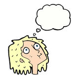 Cartoon staring woman with thought bubble Stock Images