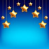 Cartoon stars on blue sky vector background Stock Photo
