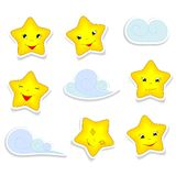 Cartoon stars and clouds Royalty Free Stock Images