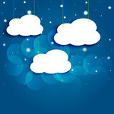 Cartoon stars and clouds in the night sky. Royalty Free Stock Images