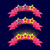 Cartoon stars rank on pink ribbon for game design. GUI icons elements For animation Stock Image