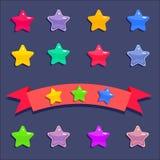 Cartoon stars set. Cartoon stars for mobile game on dark blue background. Achievement stars on red ribbon vector illustration
