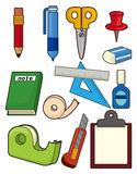 Cartoon stationery icon set Stock Photography