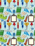 Cartoon stationery seamless pattern Stock Photo