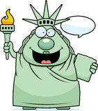 Cartoon Statue of Liberty Talking Royalty Free Stock Images