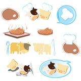 Cartoon steak. Icon Set. Easy To Edit Vector Image Royalty Free Stock Photos