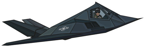 Cartoon stealth F-117 Nighthawk. Royalty Free Stock Photography