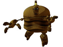 Cartoon Steam Punk Robot Jumping Royalty Free Stock Image