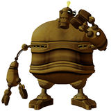 Cartoon Steam Punk Robot Studying Stock Image
