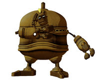 Cartoon Steam Punk Robot Thinking Royalty Free Stock Photos